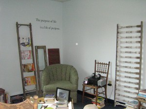 Here's just an idea of the S.O.S Library ~ comfy seating, books and magazines and inspiration.