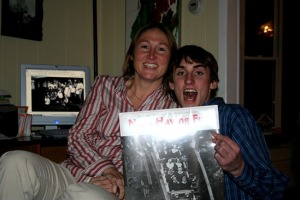 Cousin Maura and her son Oscar celebrate the Nuns Having Fun Year-Old Calendar they scored during the ReGifting Grab 2007