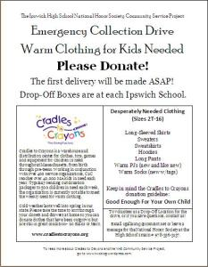 Ipswich National Honor Society's Warm Clothing Drive is being run in response to a desperate need for warm clothes for MA children in need.