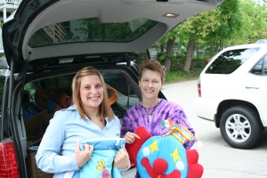 Here I am with Christine McCall, my contact at C2C. This is from the baby drive in the spring. C2C is always in need of baby equipment, clothes and toys. It's there most challenging category when it comes to meeting the great demand.