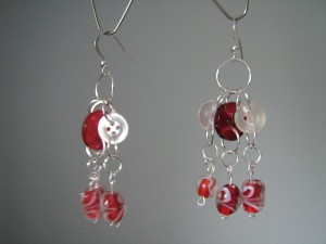 Vintage buttons and discarded glass bead earrings make a statement that goes beyond fashion!